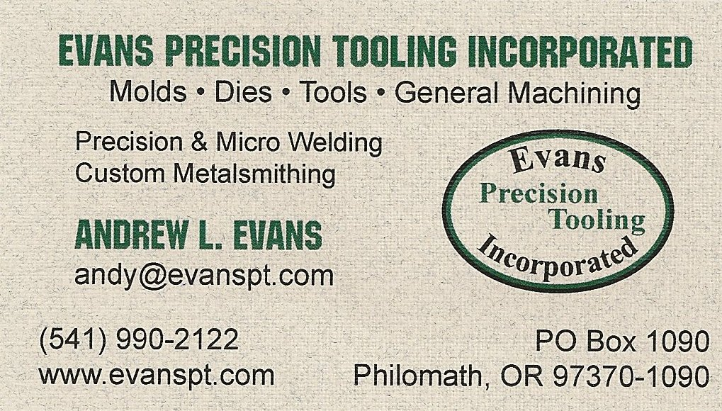 Evans Precision Tooling Business Card